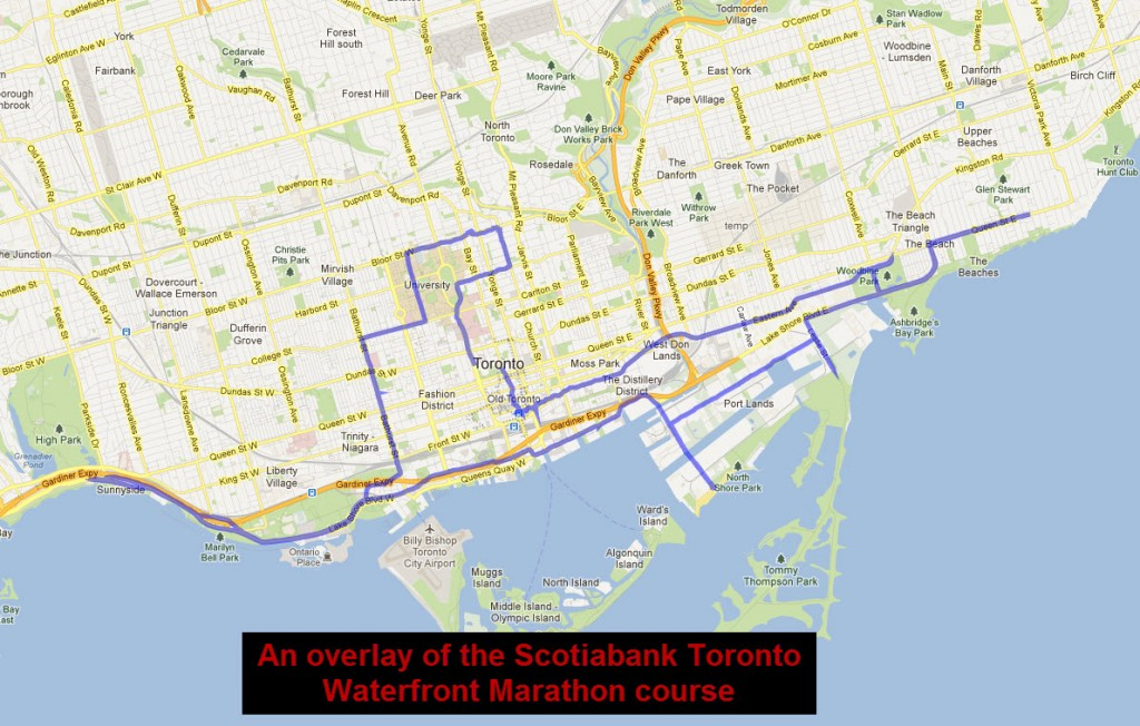 The Scotiabank Toronto Waterfront Marathon overlay KML