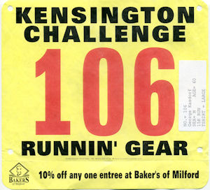 The official #106 Bib for the Kensington Challenge.