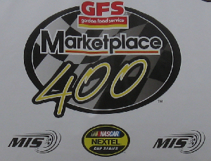 The logo of Michigan International Speedway (MIS), NASCAR and the Gordon Food Service (GFS) 400 mile race.